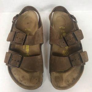 Birkenstock Milano Brown Leather Sandals Size 7